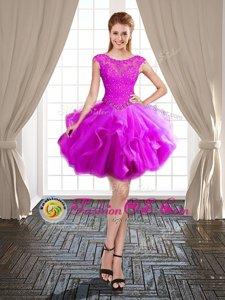 Stunning Scoop Mini Length Ball Gowns Cap Sleeves Fuchsia Cocktail Dresses Lace Up
