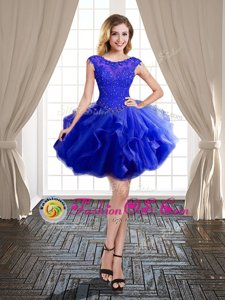 Custom Fit Scoop Mini Length Royal Blue Homecoming Party Dress Tulle Cap Sleeves Beading and Ruffles