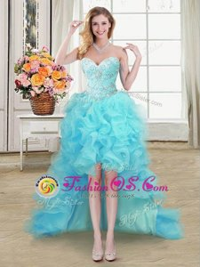 Aqua Blue Lace Up Sweetheart Beading and Ruffles Dress for Prom Organza Sleeveless