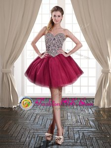 Burgundy Sleeveless Beading Mini Length Homecoming Dress