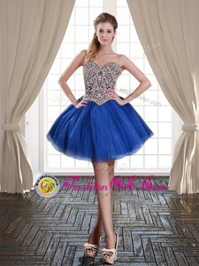 Mini Length Lace Up Homecoming Dress Royal Blue and In for Prom and Party with Beading