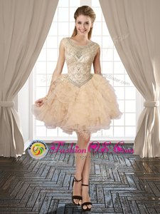 Scoop Sleeveless Organza Club Wear Beading and Ruffles Lace Up
