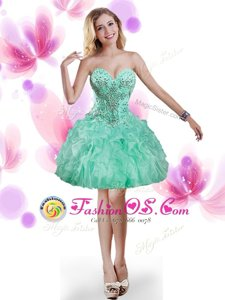 Graceful Turquoise Prom Party Dress Prom and Party and For with Beading and Ruffles Sweetheart Sleeveless Lace Up