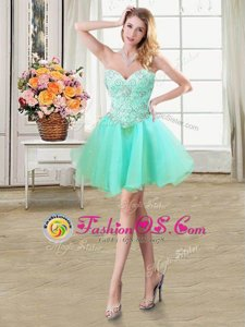 Elegant Sweetheart Sleeveless Lace Up Prom Dress Apple Green Organza