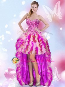 Custom Made High Low Lace Up Formal Dresses Multi-color and In for Prom and Party with Beading and Ruffles