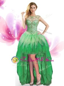 Scoop Sleeveless Beading and Ruffles Lace Up Celeb Inspired Gowns