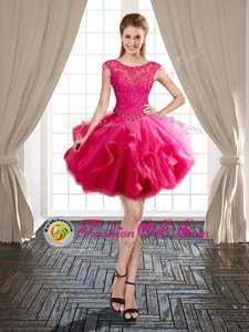 Ideal Hot Pink Ball Gowns Tulle Scoop Cap Sleeves Beading and Ruffles Mini Length Lace Up Prom Party Dress