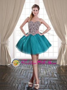 Teal Tulle Lace Up Sweetheart Sleeveless Mini Length Prom Dresses Beading