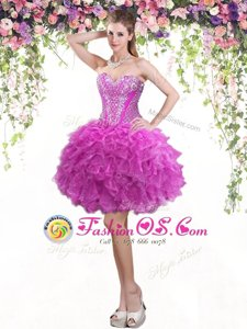 High Low Fuchsia Dress for Prom Sweetheart Sleeveless Lace Up