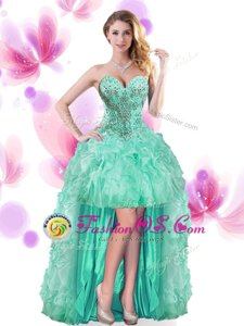 Turquoise Sleeveless Beading and Ruffles High Low Prom Party Dress