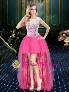 Scoop Hot Pink Organza Zipper Prom Gown Sleeveless High Low Brush Train Beading