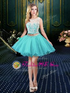 Customized Scoop Aqua Blue Clasp Handle Dress for Prom Lace Sleeveless Mini Length