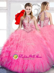 Halter Top Hot Pink Sleeveless Floor Length Beading and Ruffles Lace Up Sweet 16 Dresses