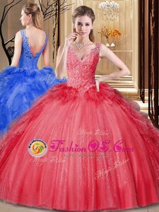 Nice Red Ball Gowns V-neck Sleeveless Tulle and Sequined Floor Length Backless Appliques and Sequins and Pick Ups Quinceanera Gowns