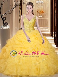 Great Pick Ups V-neck Sleeveless Backless Quinceanera Dress Gold Organza