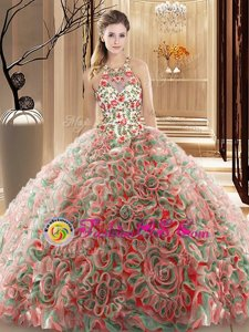 Classical Multi-color Sleeveless Fabric With Rolling Flowers Brush Train Criss Cross Quinceanera Dress for Military Ball and Sweet 16 and Quinceanera