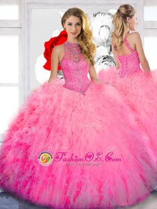 Nice Floor Length Ball Gowns Sleeveless Baby Pink 15th Birthday Dress Lace Up