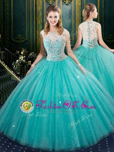 Fabulous Aqua Blue Zipper Quince Ball Gowns Lace Sleeveless Floor Length