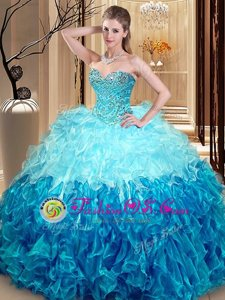 Trendy Multi-color Lace Up Sweet 16 Dresses Beading and Ruffles Sleeveless Asymmetrical