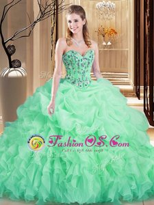 Classical Apple Green Sleeveless Organza Brush Train Lace Up 15th Birthday Dress for Prom and Military Ball and Sweet 16 and Quinceanera