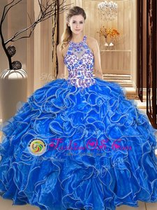 Scoop Backless Organza Sleeveless Floor Length Quinceanera Gown and Embroidery and Ruffles
