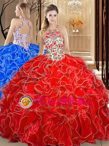 Scoop Sleeveless Backless Sweet 16 Quinceanera Dress Coral Red Organza