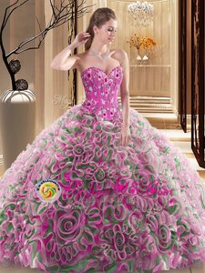 Amazing Multi-color Fabric With Rolling Flowers Lace Up Sweetheart Sleeveless With Train Quinceanera Dress Brush Train Embroidery and Ruffles