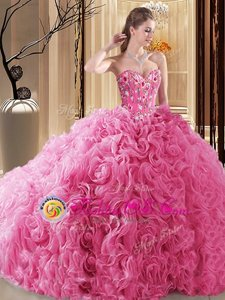 Rose Pink Lace Up 15th Birthday Dress Embroidery and Ruffles and Pick Ups Sleeveless Floor Length