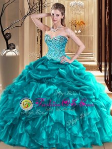 Aqua Blue Ball Gowns Sweetheart Sleeveless Tulle Floor Length Lace Up Beading Sweet 16 Quinceanera Dress