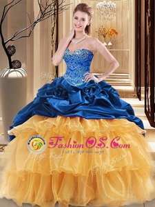 Sweetheart Sleeveless Organza and Taffeta 15th Birthday Dress Beading and Ruffles Lace Up