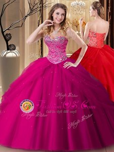 Best Fuchsia Tulle Lace Up Sweetheart Sleeveless Floor Length Ball Gown Prom Dress Beading