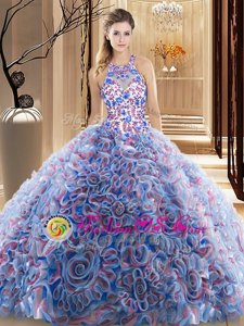 Peach Quinceanera Gown High-neck Sleeveless Court Train Backless