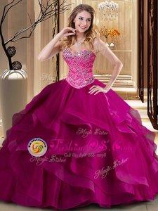 Floor Length Fuchsia Quinceanera Dresses Tulle Sleeveless Beading and Ruffles
