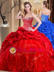 Flare Red Sweetheart Lace Up Beading and Ruffles Ball Gown Prom Dress Brush Train Sleeveless