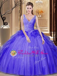 Floor Length Backless Quinceanera Dresses Lavender and In for Military Ball and Sweet 16 and Quinceanera with Appliques and Ruffles and Sequins
