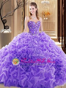 Fitting Sleeveless Embroidery and Ruffles and Pick Ups Lace Up Quinceanera Gown with Lavender Court Train