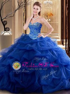 Traditional Multi-color Sleeveless With Train Embroidery and Ruffles Lace Up Quinceanera Gown