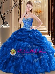 Perfect Organza Sweetheart Sleeveless Lace Up Beading and Pick Ups Quince Ball Gowns in Royal Blue