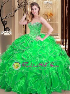 Luxury Quinceanera Dress Military Ball and Sweet 16 and Quinceanera and For with Beading and Ruffles Sweetheart Sleeveless Lace Up
