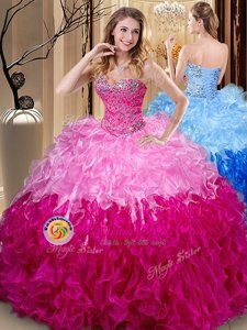 Superior Ball Gowns Quinceanera Gown Multi-color Sweetheart Organza Sleeveless Floor Length Lace Up