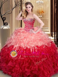 Multi-color Sleeveless Ruffles Floor Length Quinceanera Gown