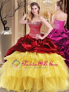 Multi-color Ball Gowns Sweetheart Sleeveless Organza and Taffeta Floor Length Lace Up Beading and Ruffles Quinceanera Dress