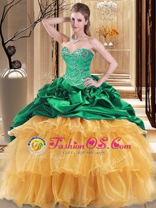 Shining Sweetheart Sleeveless Lace Up Sweet 16 Quinceanera Dress Multi-color Organza and Taffeta