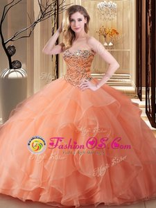Glamorous Peach Lace Up Sweetheart Beading Quinceanera Dress Tulle Sleeveless