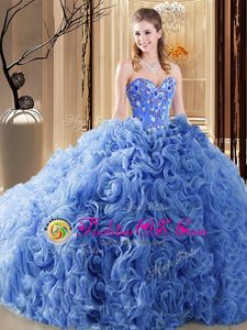 Traditional Organza and Fabric With Rolling Flowers Sleeveless 15 Quinceanera Dress Court Train and Embroidery and Ruffles