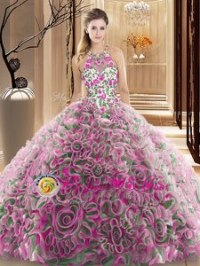 Exquisite Multi-color Criss Cross Sweet 16 Quinceanera Dress Ruffles and Pattern Sleeveless Brush Train