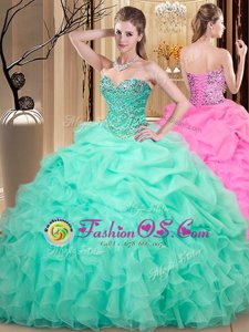 Lovely Apple Green Sweetheart Neckline Beading and Ruffles and Pick Ups Quince Ball Gowns Sleeveless Lace Up