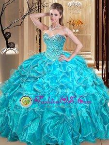 New Style Aqua Blue Sweetheart Neckline Beading and Ruffles Vestidos de Quinceanera Sleeveless Lace Up