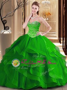 Elegant Sleeveless Tulle Floor Length Lace Up Quince Ball Gowns in Green for with Beading and Ruffles