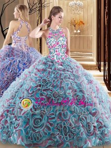 Custom Designed Multi-color Ball Gowns High-neck Sleeveless Fabric With Rolling Flowers Sweep Train Criss Cross Ruffles and Pattern Sweet 16 Dress